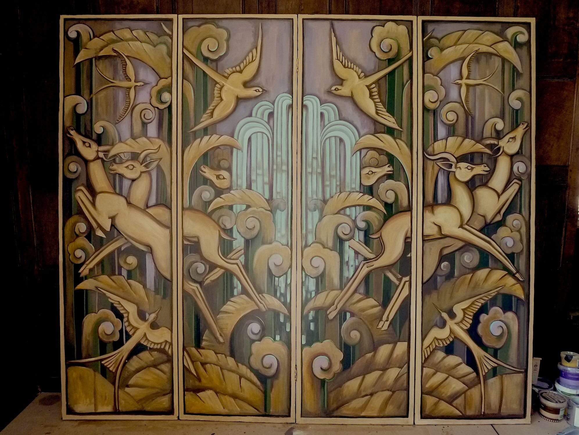 Art deco 4 panelled screen mark benson sands for Deco metal mural